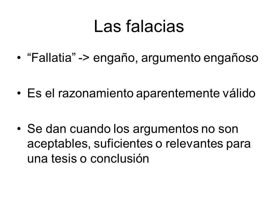 Las falacias Fallatia -> engaño, argumento engañoso