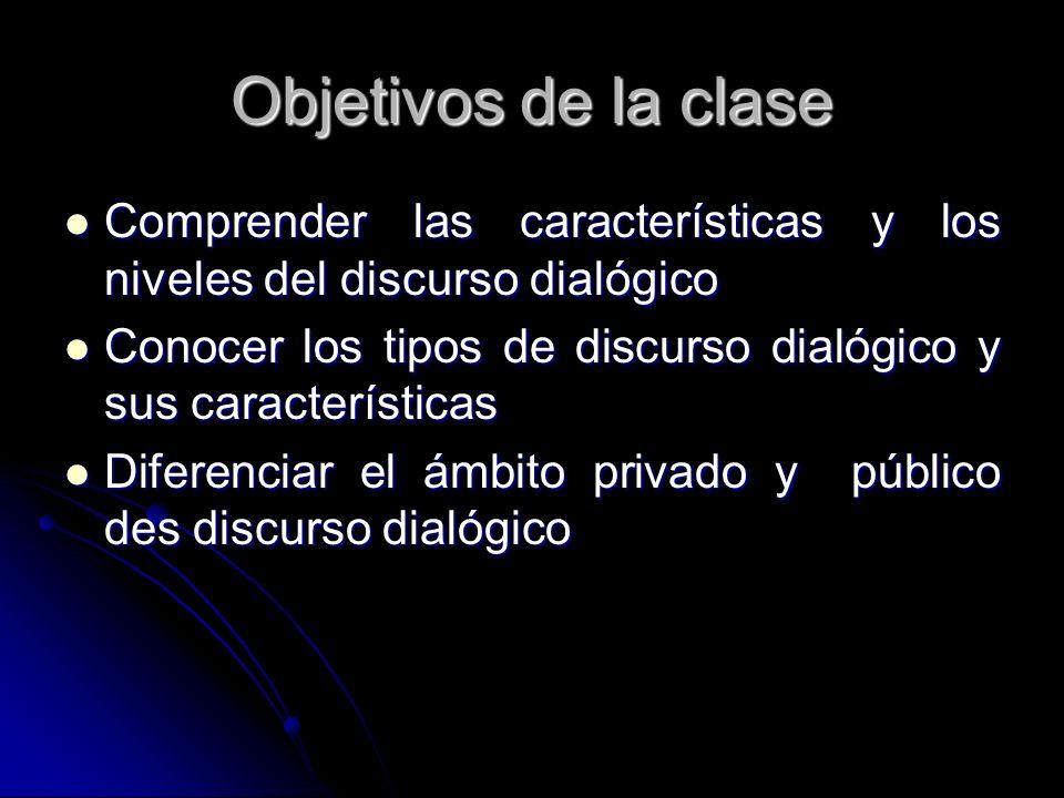 Objetivos de la claseComprender las características y los niveles del discurso dialógico.