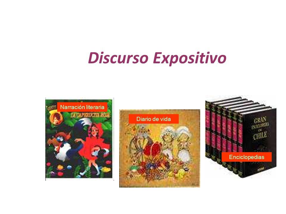 Discurso Expositivo Narración literaria Diario de vida Enciclopedias
