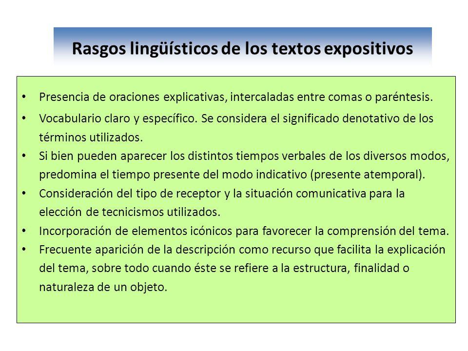 Rasgos lingüísticos de los textos expositivos