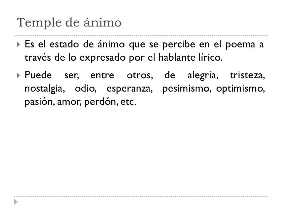 Temple de ánimo Es el estado de ánimo que se percibe en el poema a través de lo expresado por el hablante lírico.