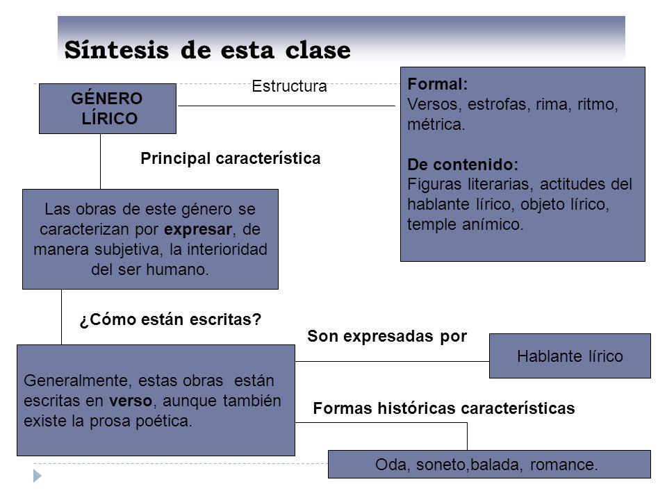 Síntesis de esta clase Formal: Estructura