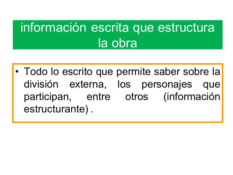 información escrita que estructura la obra