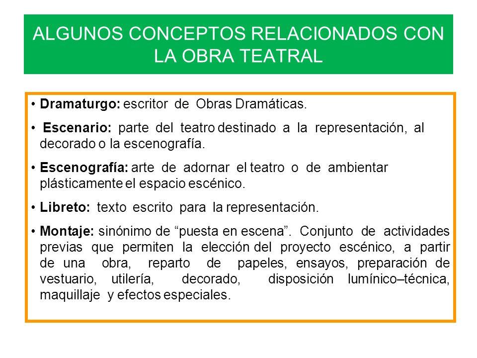 ALGUNOS CONCEPTOS RELACIONADOS CON LA OBRA TEATRAL
