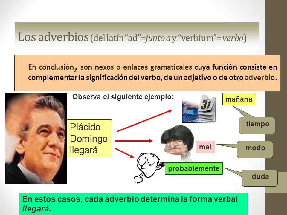 Los adverbios (del latín ad =junto a y verbium = verbo)