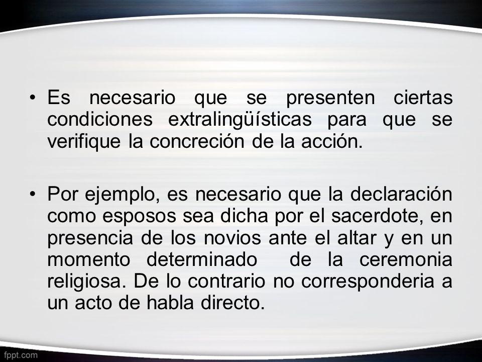 Es necesario que se presenten ciertas condiciones extralingüísticas para que se verifique la concreción de la acción.