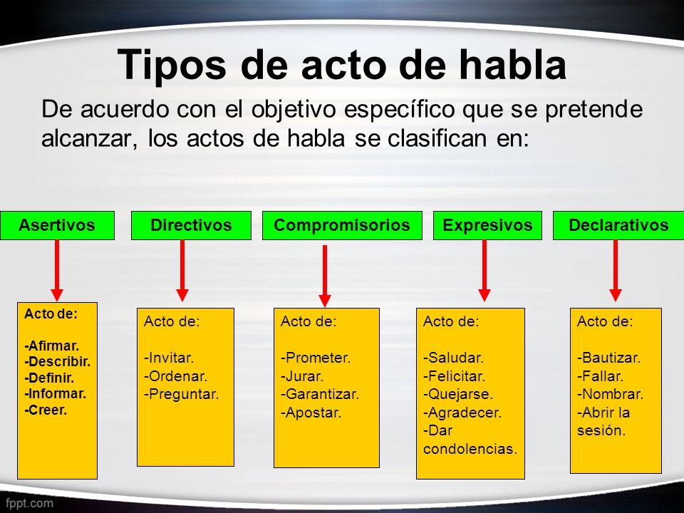 Tipos de acto de habla De acuerdo con el objetivo específico que se pretende alcanzar, los actos de habla se clasifican en: