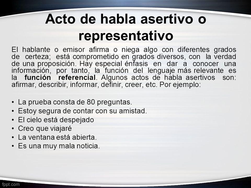 Acto de habla asertivo o representativo