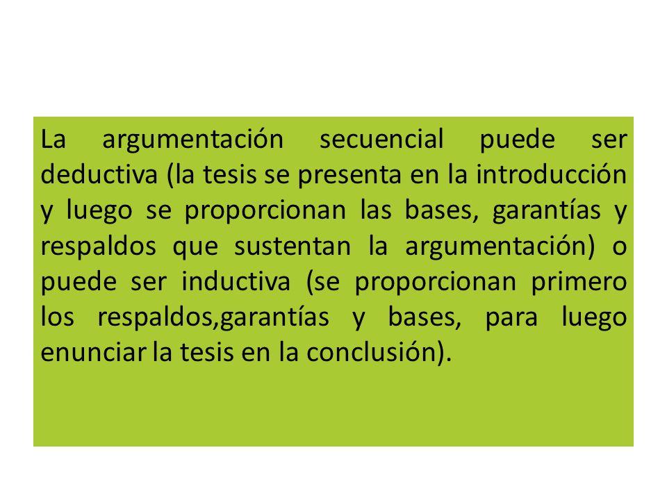 La argumentación secuencial puede ser deductiva (la tesis se presenta en la introducción y luego se proporcionan las bases, garantías y respaldos que sustentan la argumentación) o puede ser inductiva (se proporcionan primero los respaldos,garantías y bases, para luego enunciar la tesis en la conclusión).