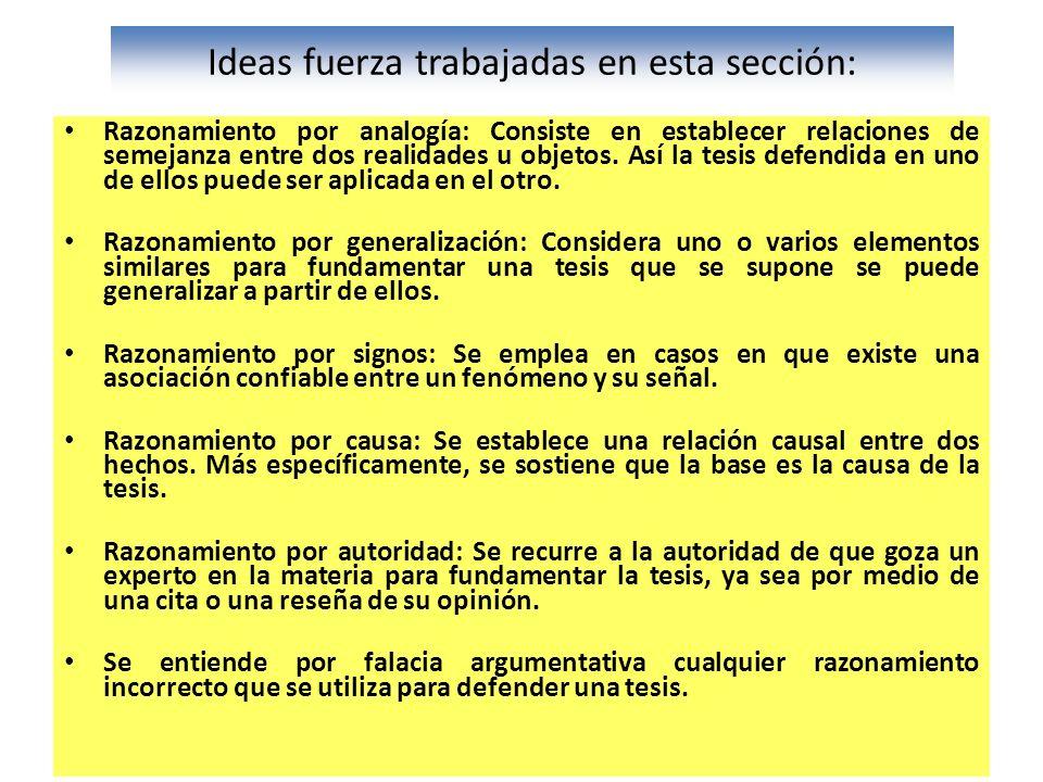 Ideas fuerza trabajadas en esta sección: