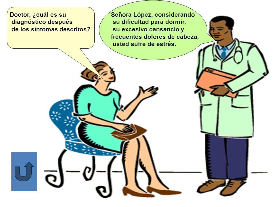 Doctor, ¿cuál es su diagnóstico después. de los síntomas descritos Señora López, considerando. su dificultad para dormir,