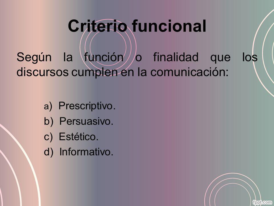 Criterio funcional Según la función o finalidad que los discursos cumplen en la comunicación: a) Prescriptivo.