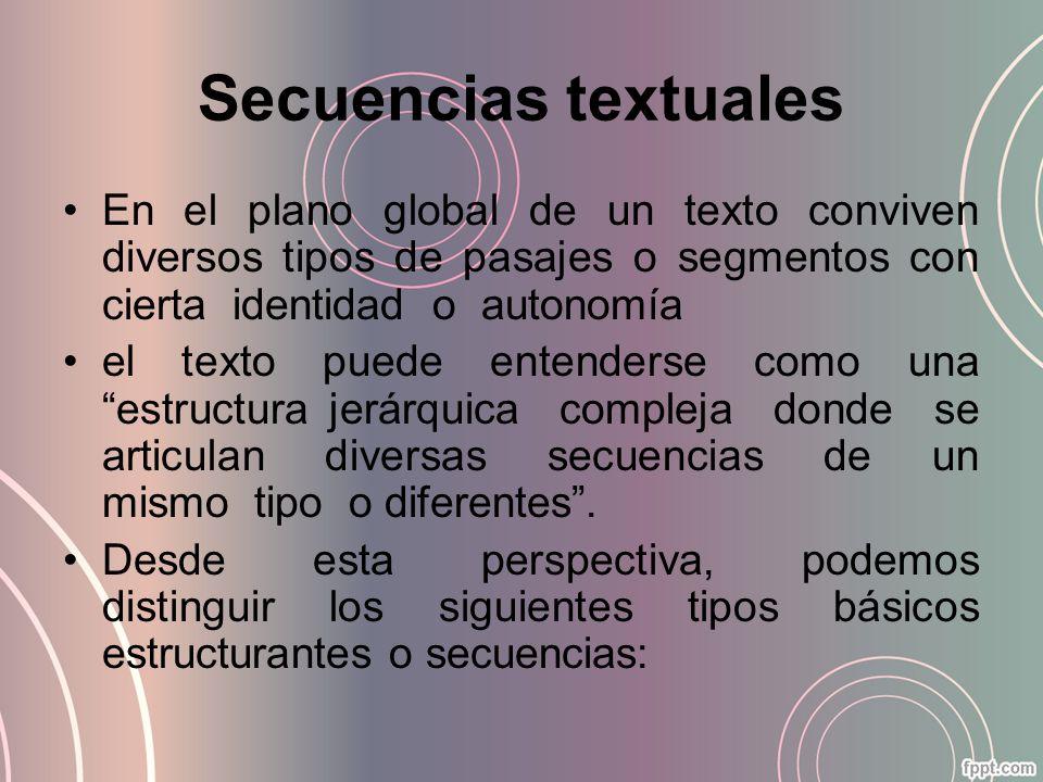 Secuencias textuales En el plano global de un texto conviven diversos tipos de pasajes o segmentos con cierta identidad o autonomía.