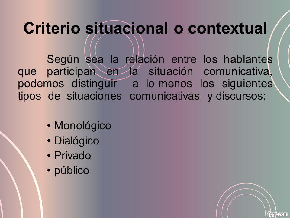 Criterio situacional o contextual