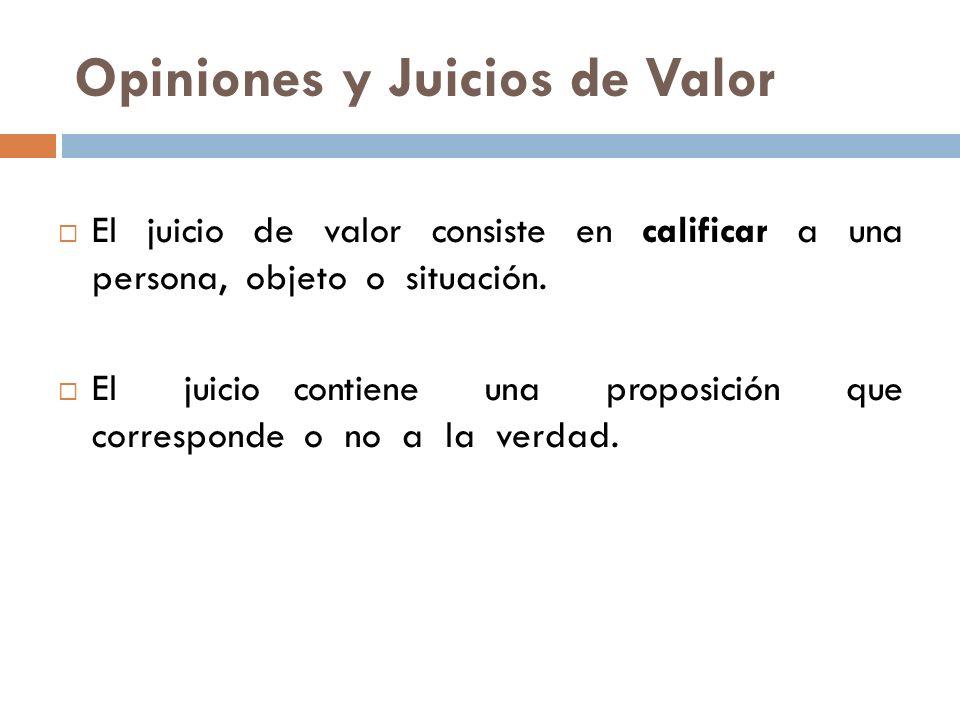 Opiniones y Juicios de Valor