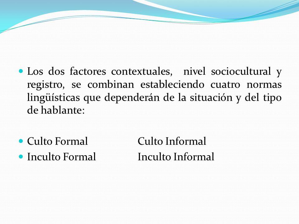 Los dos factores contextuales, nivel sociocultural y registro, se combinan estableciendo cuatro normas lingüísticas que dependerán de la situación y del tipo de hablante: