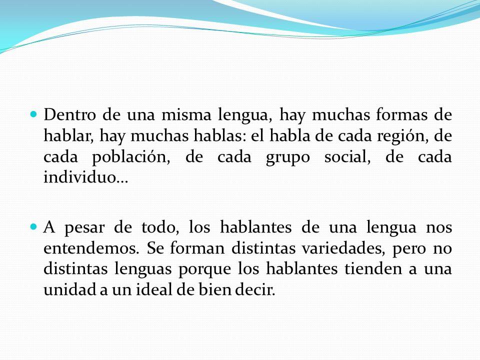 Dentro de una misma lengua, hay muchas formas de hablar, hay muchas hablas: el habla de cada región, de cada población, de cada grupo social, de cada individuo…