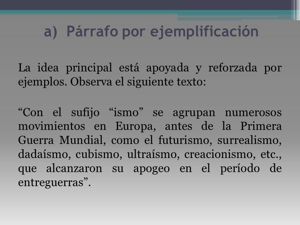 a) Párrafo por ejemplificación