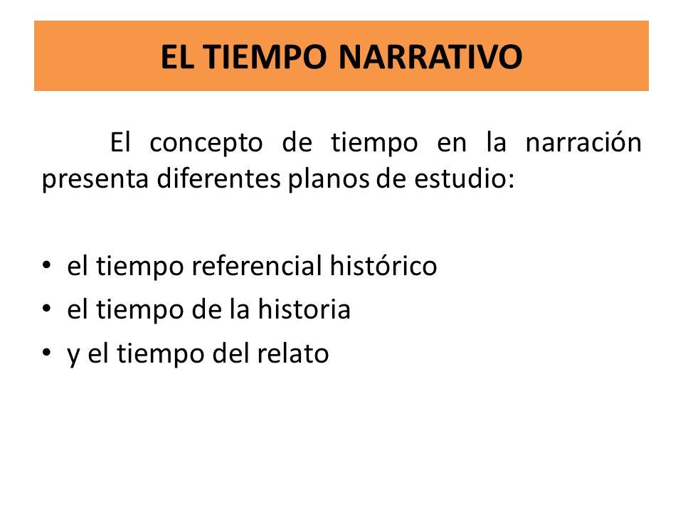 EL TIEMPO NARRATIVO El concepto de tiempo en la narración presenta diferentes planos de estudio: el tiempo referencial histórico.