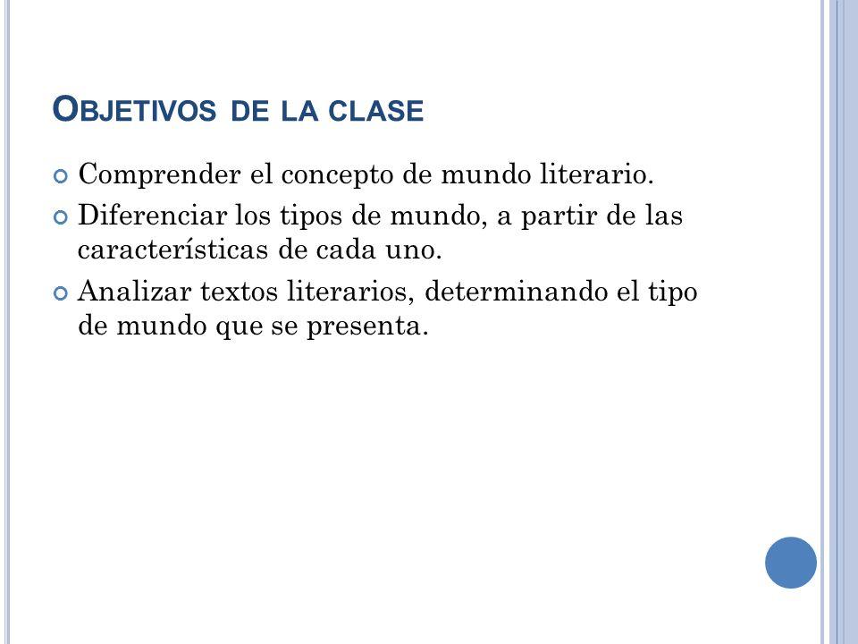 Objetivos de la clase Comprender el concepto de mundo literario.