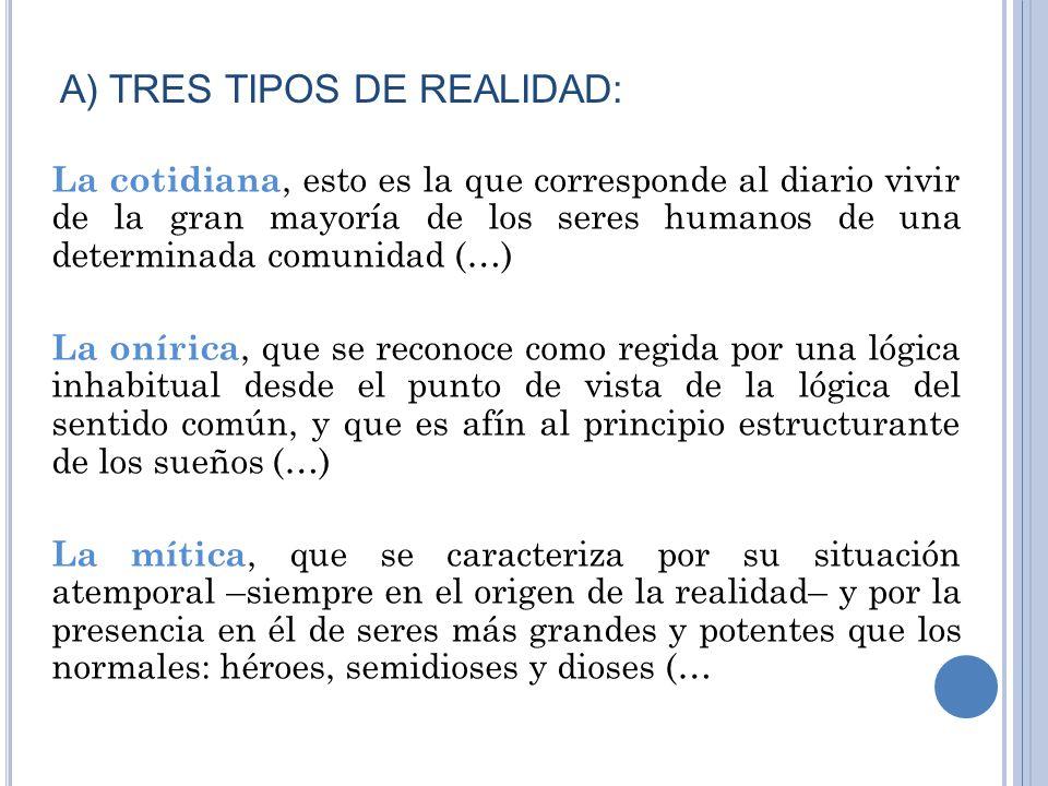 A) TRES TIPOS DE REALIDAD: