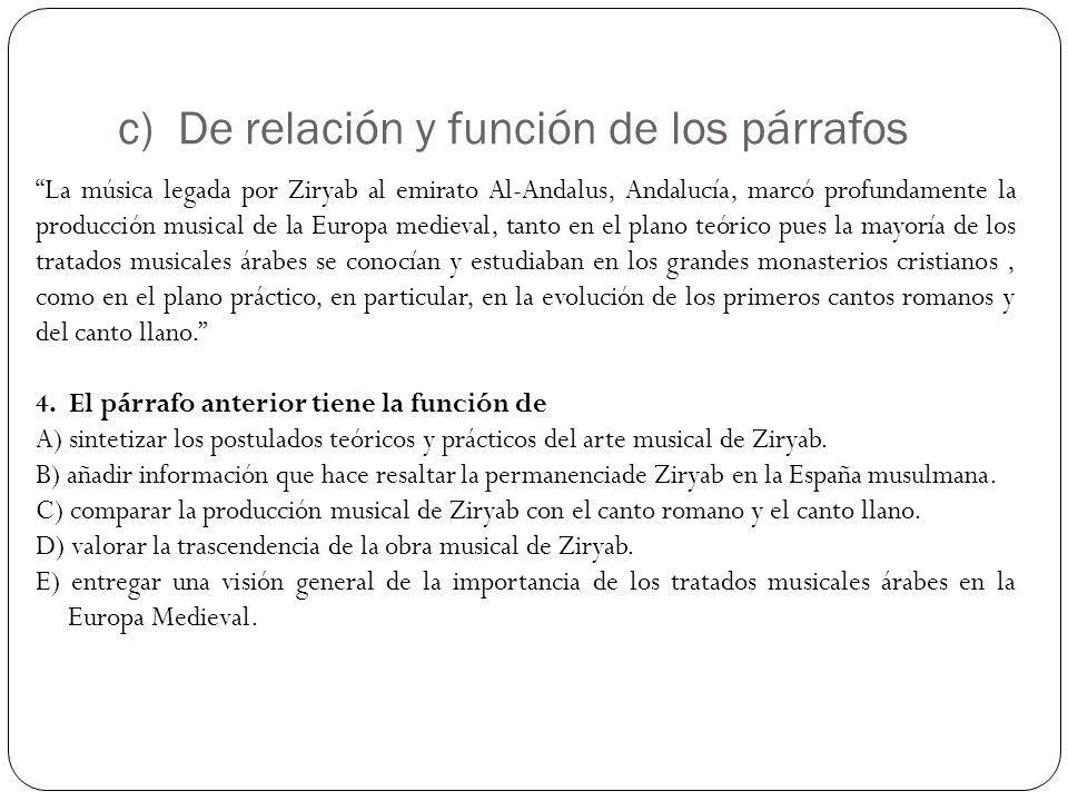 c) De relación y función de los párrafos