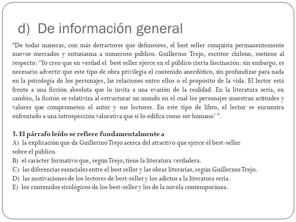 d) De información general