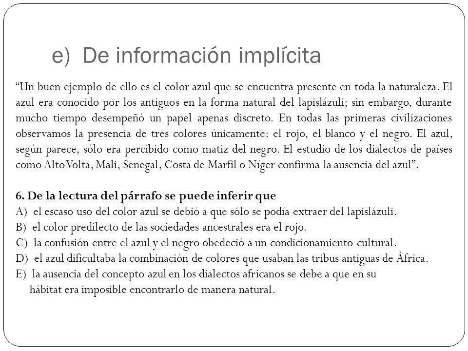 e) De información implícita