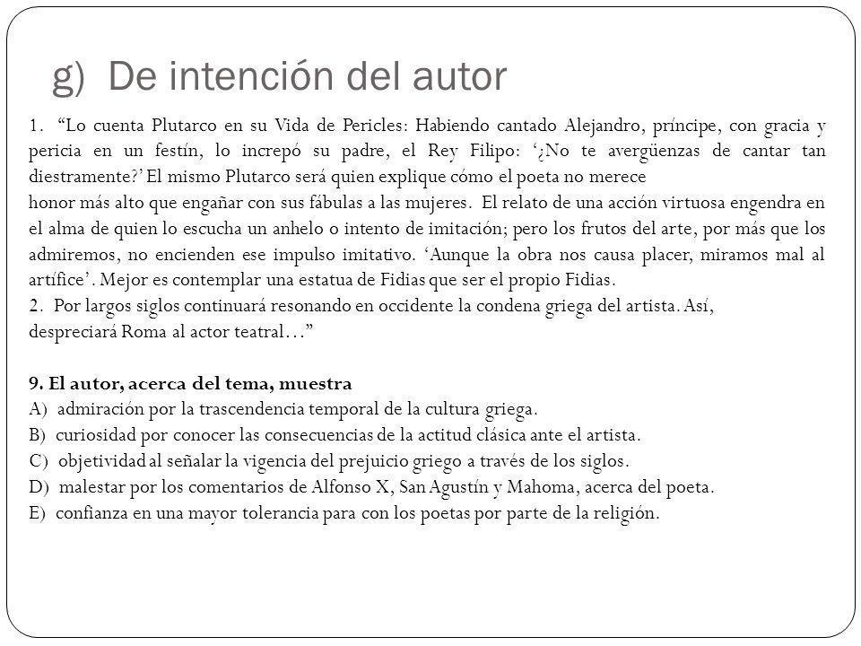 g) De intención del autor