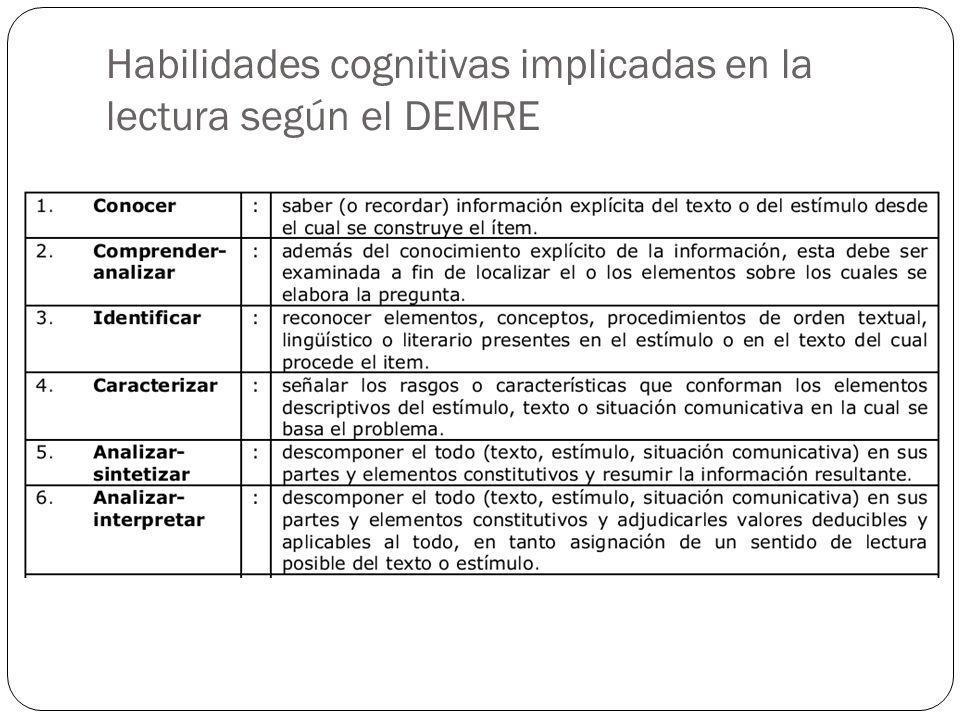 Habilidades cognitivas implicadas en la lectura según el DEMRE