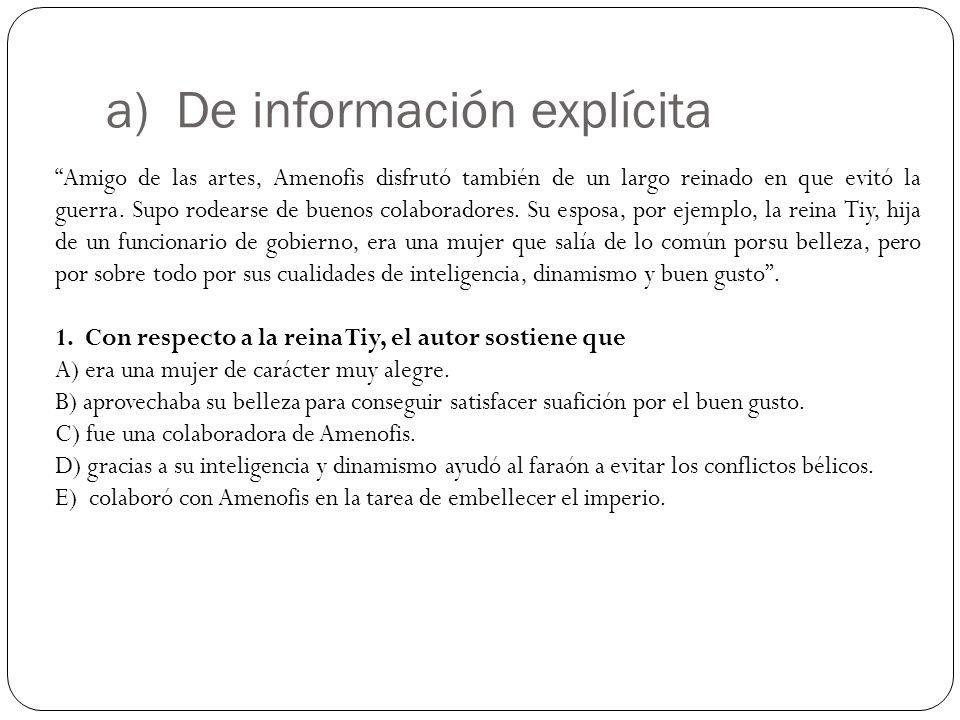 a) De información explícita