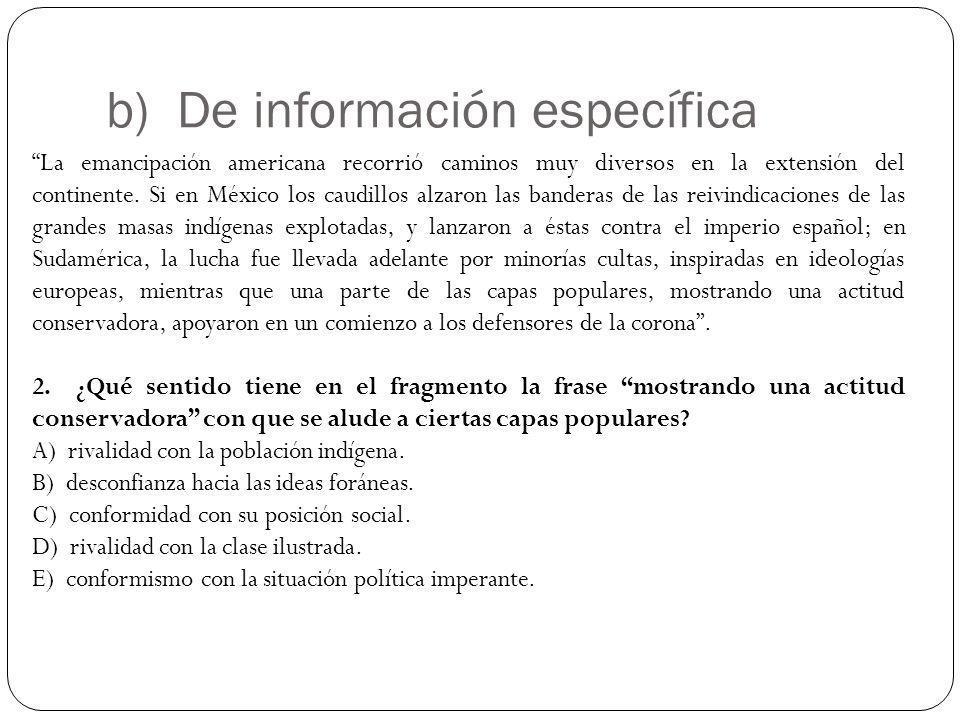 b) De información específica