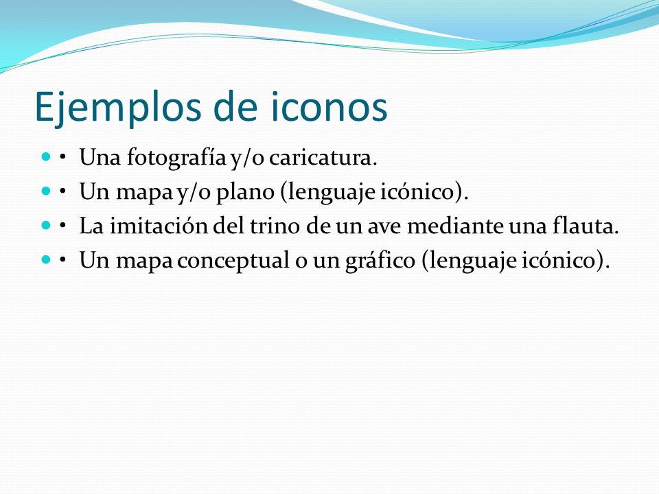 Ejemplos de iconos • Una fotografía y/o caricatura.