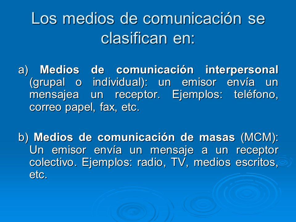 Los medios de comunicación se clasifican en: