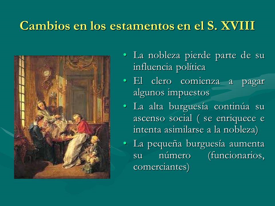 Cambios en los estamentos en el S. XVIII