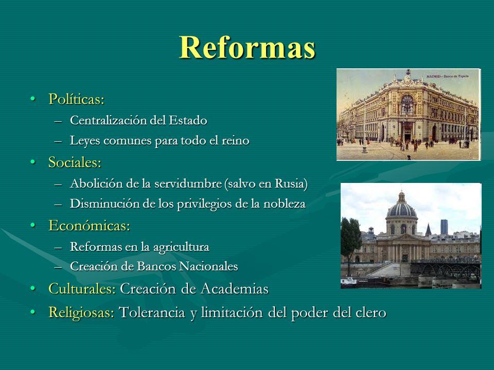 Reformas Políticas: Sociales: Económicas: