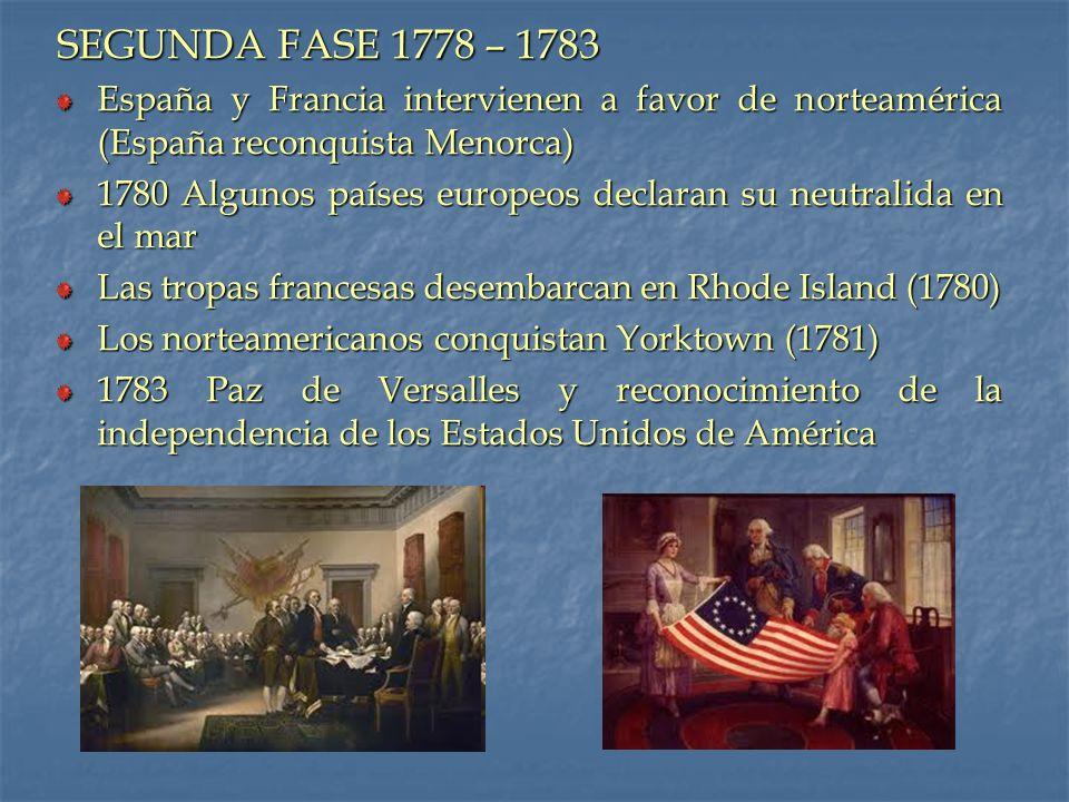 SEGUNDA FASE 1778 – 1783 España y Francia intervienen a favor de norteamérica (España reconquista Menorca)