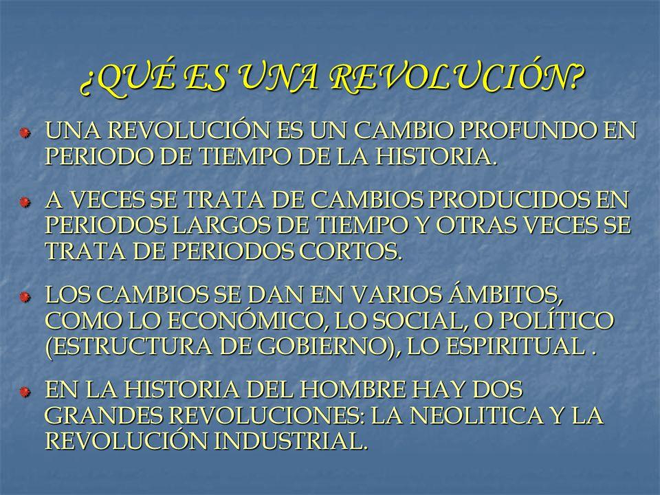 ¿QUÉ ES UNA REVOLUCIÓN UNA REVOLUCIÓN ES UN CAMBIO PROFUNDO EN PERIODO DE TIEMPO DE LA HISTORIA.