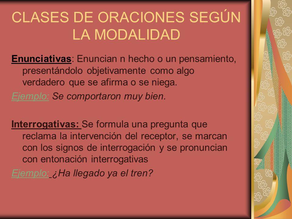 CLASES DE ORACIONES SEGÚN LA MODALIDAD