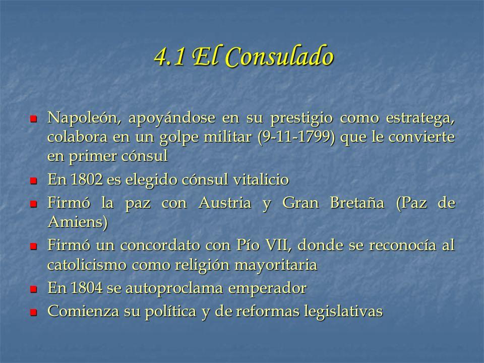 4.1 El Consulado Napoleón, apoyándose en su prestigio como estratega, colabora en un golpe militar (9-11-1799) que le convierte en primer cónsul.
