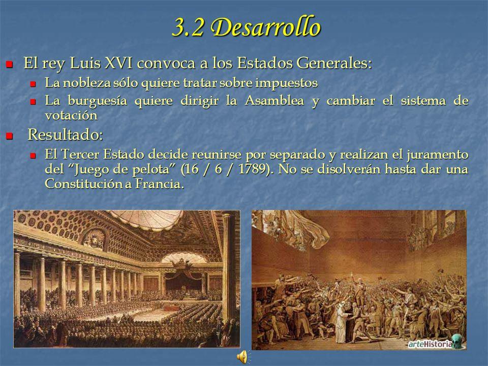 3.2 Desarrollo El rey Luis XVI convoca a los Estados Generales: