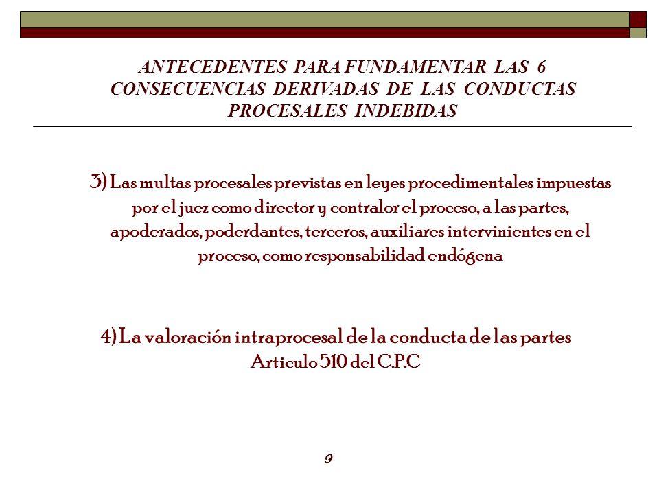 4) La valoración intraprocesal de la conducta de las partes