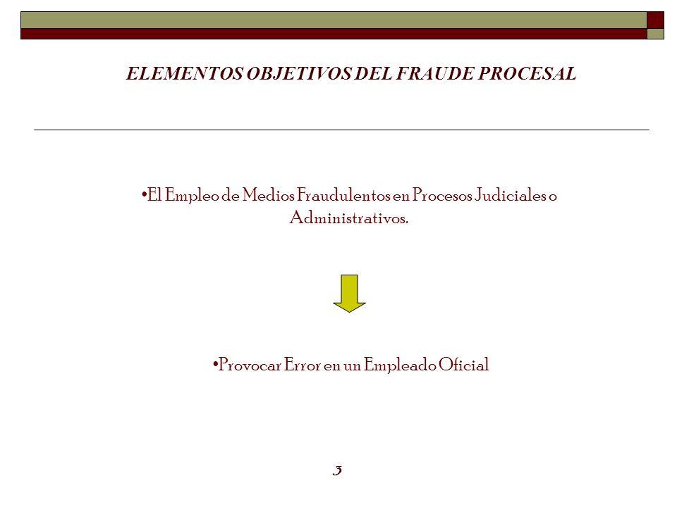 ELEMENTOS OBJETIVOS DEL FRAUDE PROCESAL
