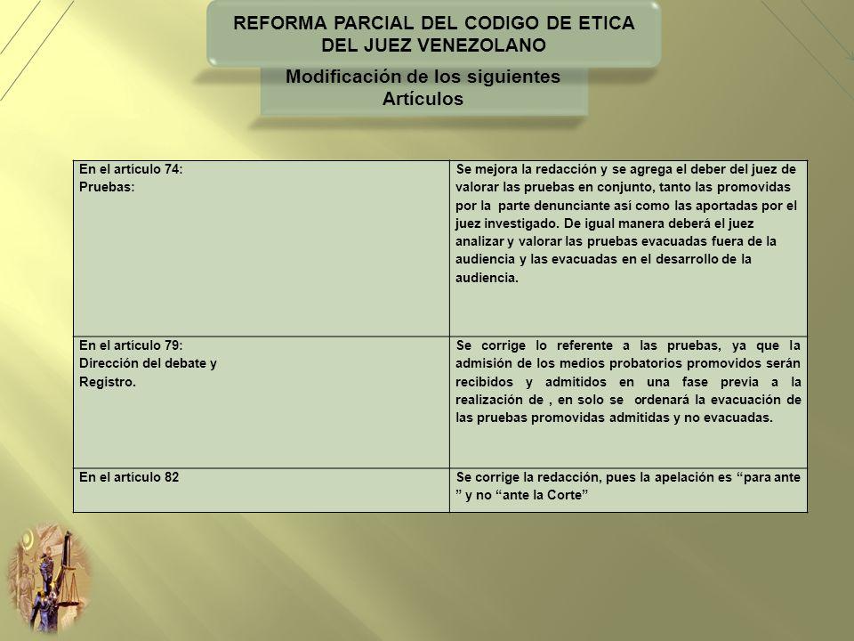 REFORMA PARCIAL DEL CODIGO DE ETICA DEL JUEZ VENEZOLANO