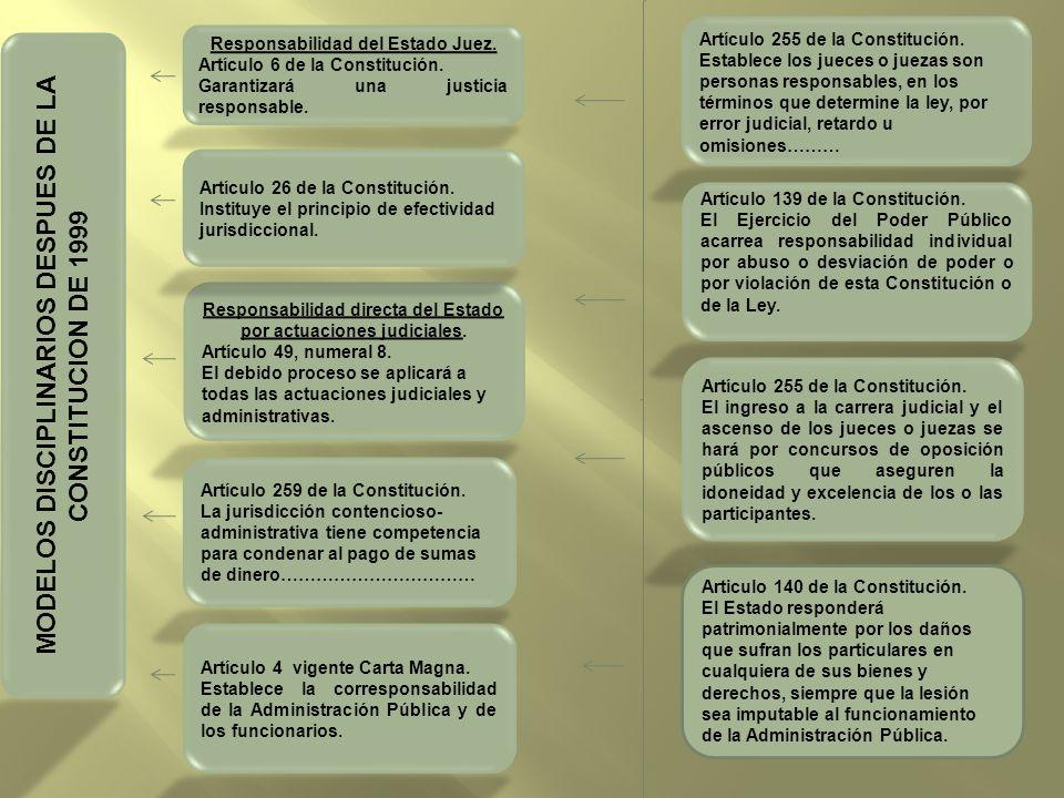 MODELOS DISCIPLINARIOS DESPUES DE LA CONSTITUCION DE 1999