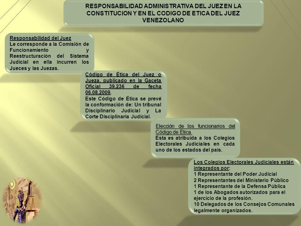 RESPONSABILIDAD ADMINISTRATIVA DEL JUEZ EN LA CONSTITUCION Y EN EL CODIGO DE ETICA DEL JUEZ VENEZOLANO