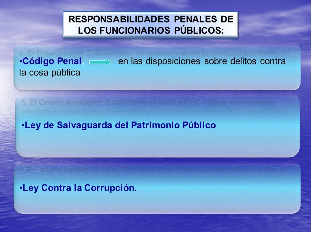 RESPONSABILIDADES PENALES DE LOS FUNCIONARIOS PÚBLICOS: