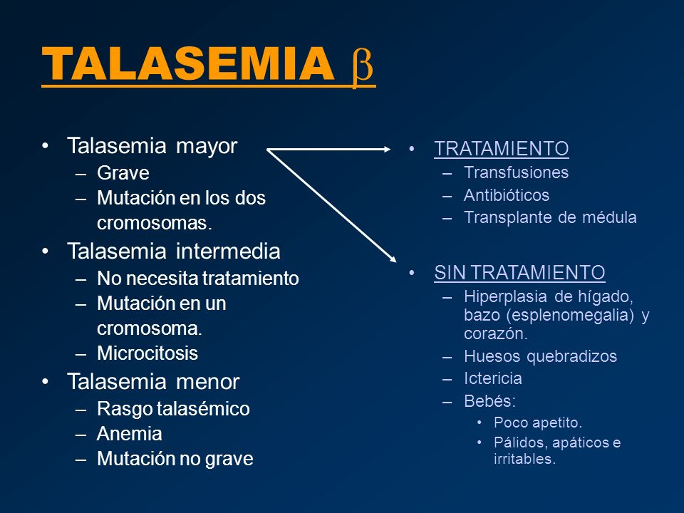 TALASEMIA b Talasemia mayor Talasemia intermedia Talasemia menor