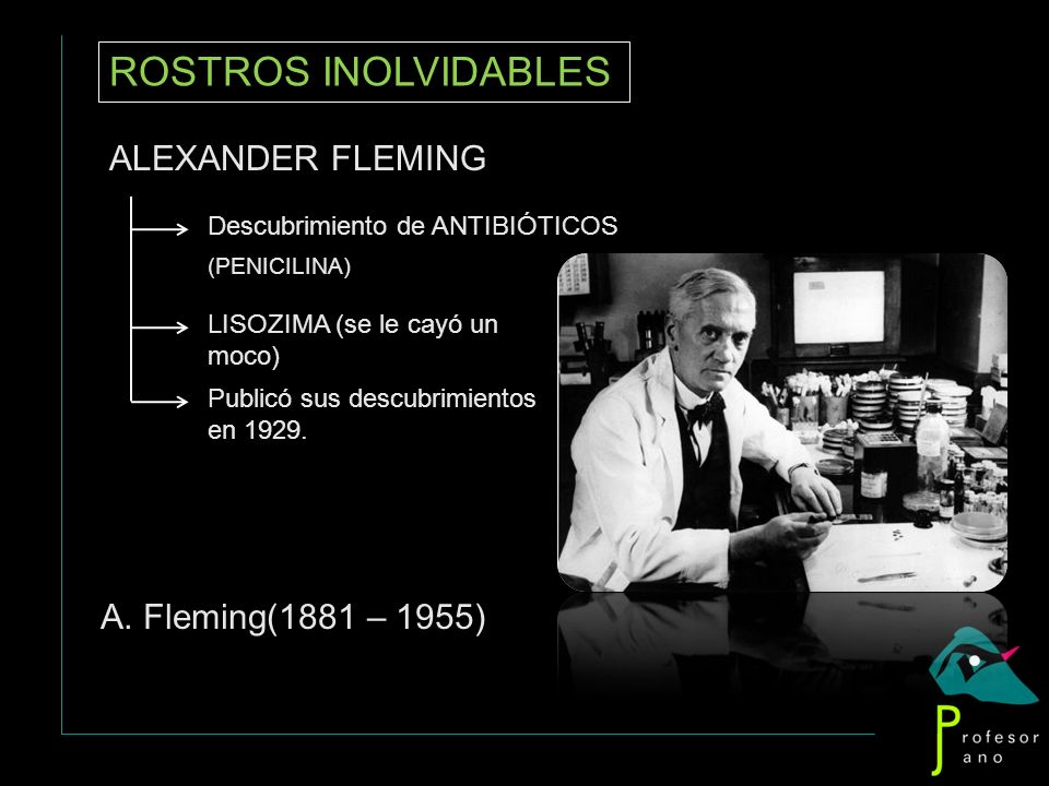 ROSTROS INOLVIDABLES ALEXANDER FLEMING A. Fleming(1881 – 1955)