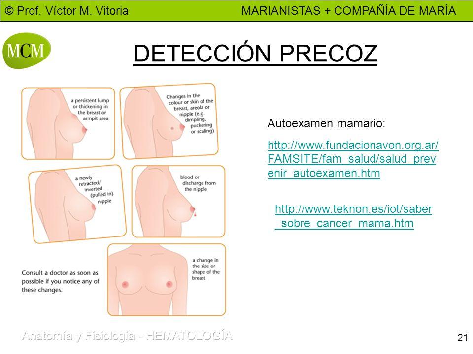 DETECCIÓN PRECOZ Autoexamen mamario: